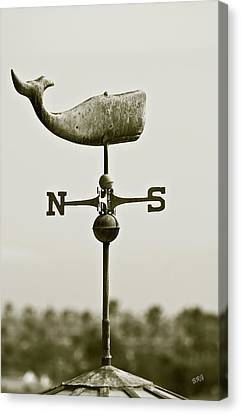 Whale Weathervane In Sepia Canvas Print by Ben and Raisa Gertsberg