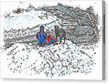 What Fascinates Children And Dogs -  Snow Day - Winter Canvas Print by Barbara Griffin