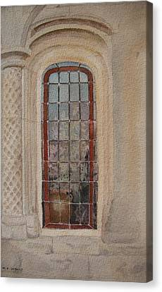 What Is Behind The Window Pane Canvas Print by Mary Ellen Mueller Legault