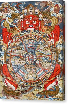 Wheel Of Life Or Wheel Of Samsara Canvas Print by Unknown
