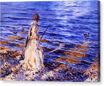 When A Woman Goes Fishing Canvas Print by Georgiana Romanovna