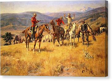 When Law Dulls The Edge Of Chance Canvas Print by Charles Russell