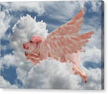 When Pigs Can Fly - Flying Pig Canvas Print by Jack Zulli