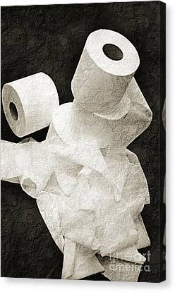 Where Is My Spare Roll Bw V1 Canvas Print by Andee Design