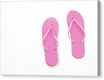 Where On Earth Is Spring - My Pink Flip Flops Are Waiting Canvas Print by Andee Design