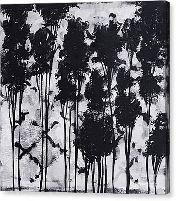 Whimsical Black And White Landscape Original Painting Decorative Contemporary Art By Madart Studios Canvas Print by Megan Duncanson