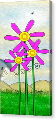 Whimsical Flowers Canvas Print by Gina Lee Manley