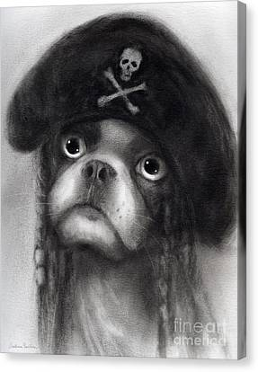 Whimsical Funny French Bulldog Pirate  Canvas Print by Svetlana Novikova