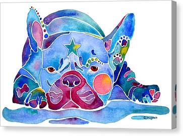 Whimzical French Bulldog  Canvas Print by Jo Lynch
