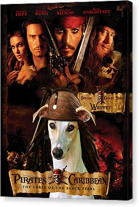 Whippet Art - Pirates Of The Caribbean The Curse Of The Black Pearl Movie Poster Canvas Print by Sandra Sij