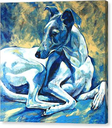 Whippet-effects Of Gravity 5 Canvas Print by Derrick Higgins