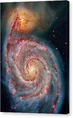 Whirlpool Galaxy In Dust Canvas Print by Benjamin Yeager