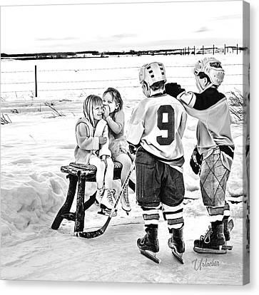 Whispers On The Backyard Rink Canvas Print by Elizabeth Urlacher