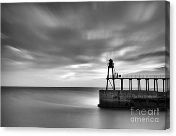 Whitby East Pier Dawn Canvas Print by John Potter
