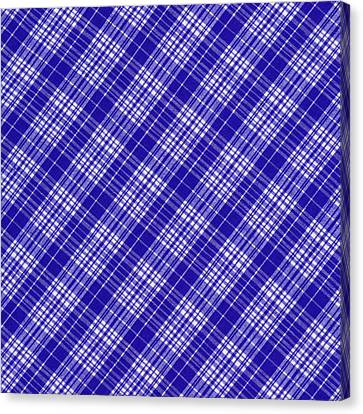 White And Blue Plaid Fabric Background Canvas Print by Keith Webber Jr