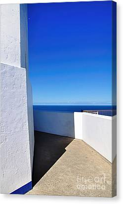 White And Blue To Ocean View Canvas Print by Kaye Menner