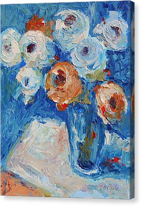 White And Orange Roses In A Sea Of Blue Canvas Print by Thomas Bertram POOLE