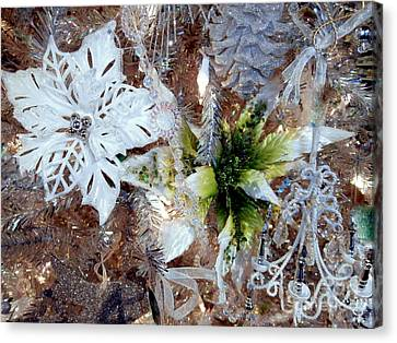 White And Silver Poinsettia Sparkle Canvas Print by Janine Riley
