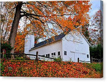 White Barn And Silo Canvas Print by Thomas Schoeller