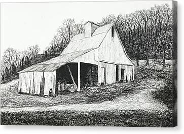 White Barn On Bluff Road Canvas Print by Garry McMichael
