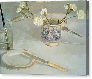 White Carnations In January Oil On Canvas Canvas Print by Sarah Butterfield