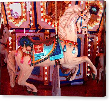 White Carousel Horse Canvas Print by Amy Vangsgard