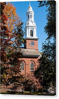 White Church Steeple New Haven Green Connecticut Canvas Print by Robert Ford