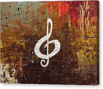 White Clef Canvas Print by Carmen Guedez