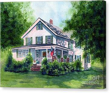 White Country Farmhouse Canvas Print by Janine Riley