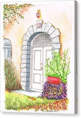 White Door In Santa Monica - California Canvas Print by Carlos G Groppa