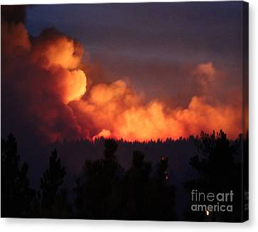 Canvas Print featuring the photograph White Draw Fire First Night by Bill Gabbert