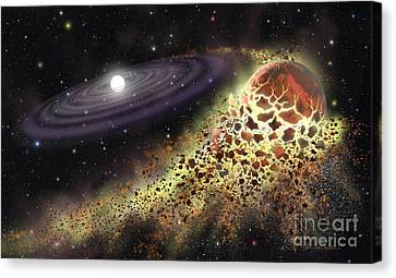 White Dwarf Shredding A Planet Canvas Print by Lynette Cook
