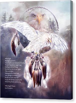 White Eagle Dreams W/prose Canvas Print by Carol Cavalaris