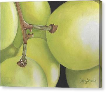 White Grapes Print Canvas Print by Cathy Savels
