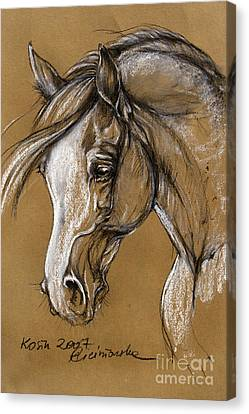 White Horse Soft Pastel Sketch Canvas Print by Angel  Tarantella