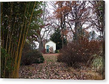 White House In The Garden Canvas Print by John Rizzuto