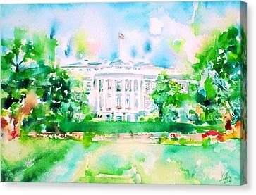 White House - Watercolor Portrait Canvas Print by Fabrizio Cassetta