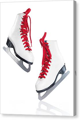 White Ice Skates With Red Laces Canvas Print by Oleksiy Maksymenko