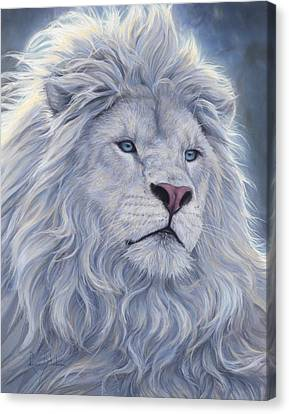 White Lion Canvas Print by Lucie Bilodeau