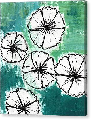 White Petunias- Floral Abstract Painting Canvas Print by Linda Woods