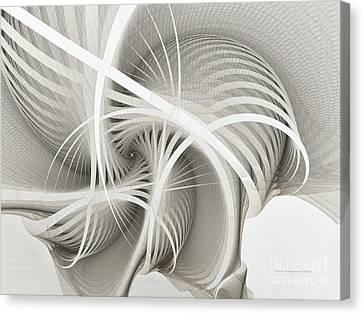 White Ribbons Spiral Canvas Print by Karin Kuhlmann