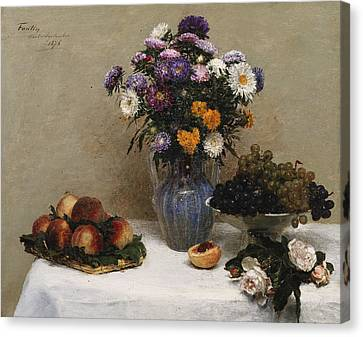White Roses And Chrysanthemums Canvas Print by Ignace Henri Jean Fantin-Latour