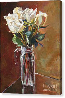 White Roses And Glass Canvas Print by David Lloyd Glover