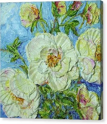 White Roses Canvas Print by Paris Wyatt Llanso