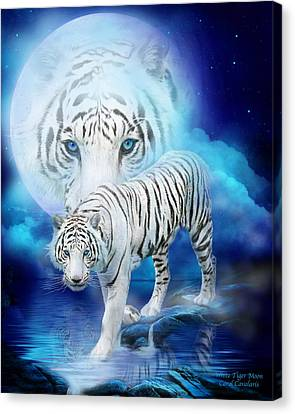 White Tiger Moon Canvas Print by Carol Cavalaris