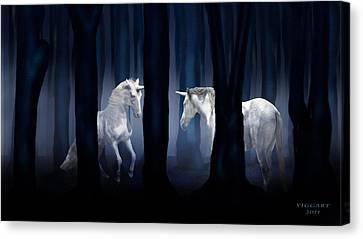 White Unicorns Canvas Print by Virginia Palomeque