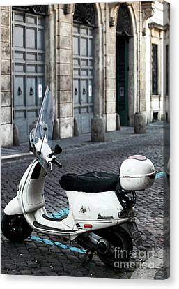 White Vespa Canvas Print by John Rizzuto