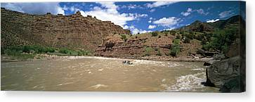 White Water Rafting In Green River Canvas Print by Panoramic Images