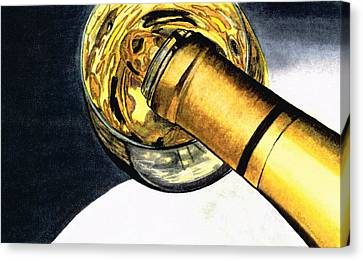 White Wine Art - Lap Of Luxury - By Sharon Cummings Canvas Print by Sharon Cummings