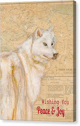 White Winter Wolf Canvas Print by Andrea LaHue